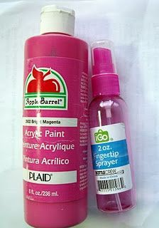 Spray paint? Did you know you can make your own spray paint? All you need is a spray bottle and acrylic paint. Mix 2 parts paint to 1 part water and shake to mix.- SMALL PROJECT PERFECT..fantastic