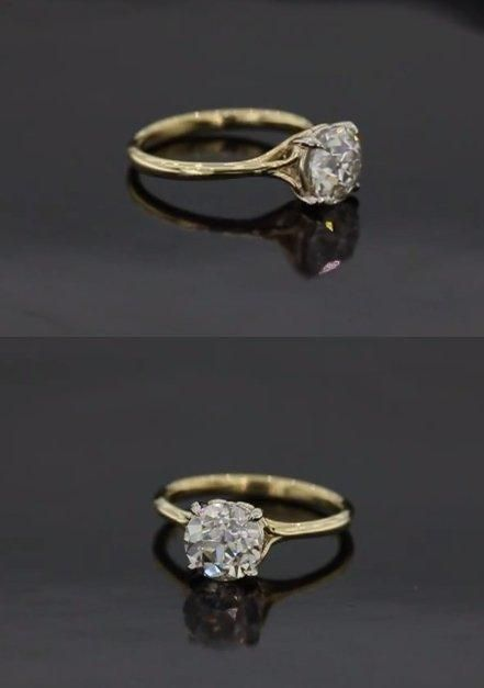 this is our scroll solitaire engagement ring a gorgeous favorite its shown here in various options including a two tone rose and yellow gold with - Customized Wedding Rings