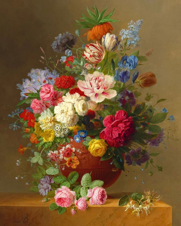 Arnoldus Bloemers 1786-1844 Still life of roses, lilac, peonies, tulips, an…