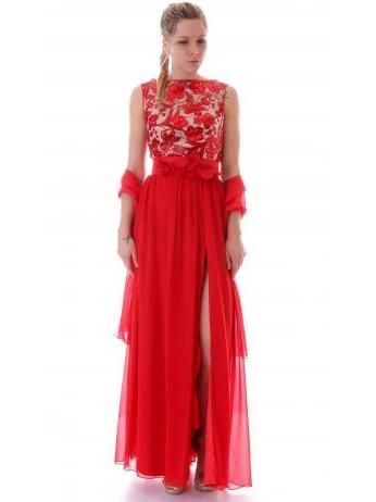 Maria Lago - Chiffon long gown in red