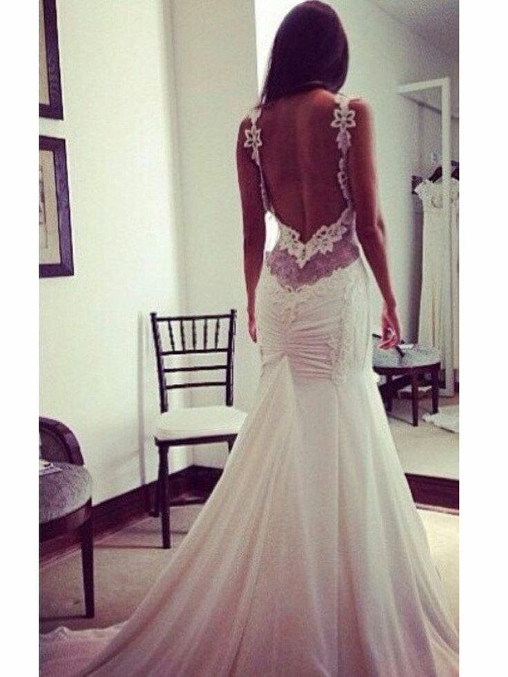 Rückenfreies, Sexy Hochzeitskleid