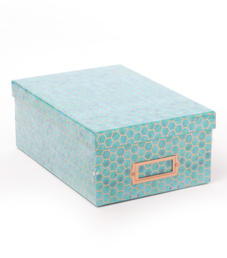 DCWV Photo Storage Box-Blue Hexagons With Copper Foil