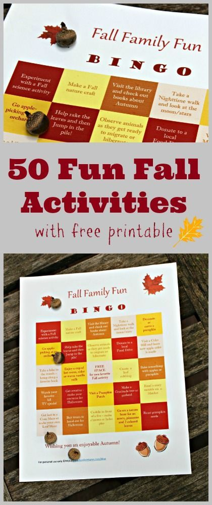 50 Fun Things to do this Fall!  with free printable BINGO board -- see how many things you can do as a family this Fall.