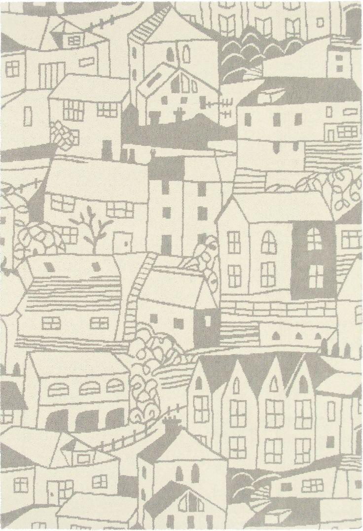 Dit prachtige, zuiver scheerwol vloerkleed roept herinneringen op aan romantische slaapkamers uit Engeland, met als thema de St. Ives huizen.