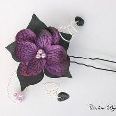 Envoi demain bijoux de cheveux pic mariage -  fleurs soie noir et violet prune rose