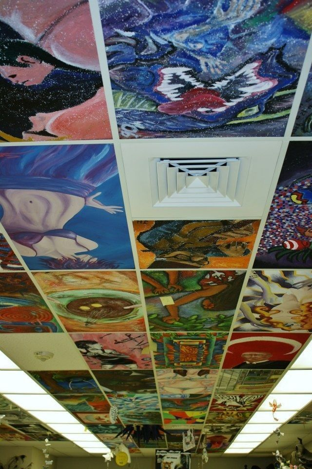 Personalize your classroom by painting the ceiling tiles -- but only if your school permits it!