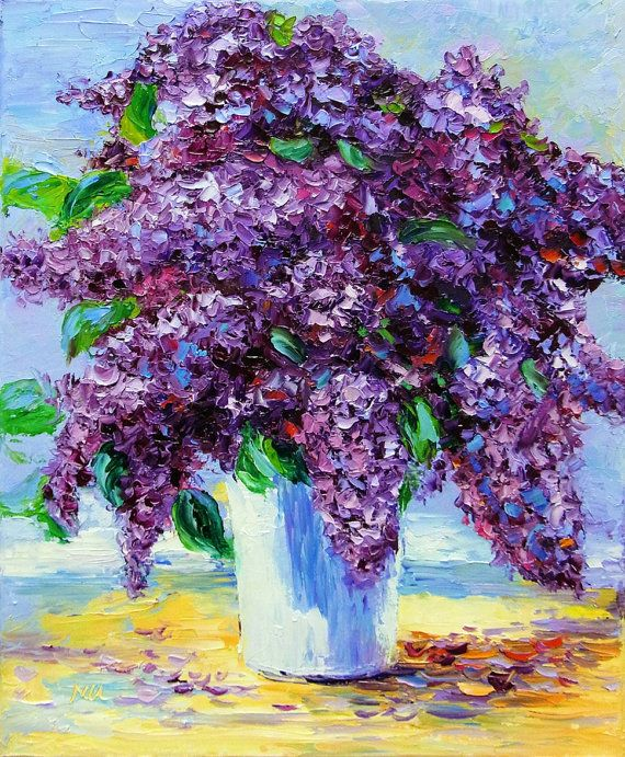 Flower Oil Painting - Lilac - Purple Flower - Textured Impasto Palette Knife Painting on Canvas
