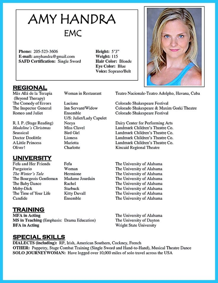 25 best ideas about acting resume template on pinterest good