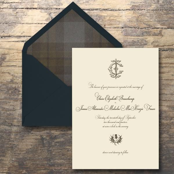 Just for fun, Scottish  monogram invite for the Outlander wedding! #OutlanderWedding