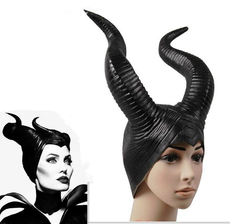 2016 trendy Genuine latex maleficent horns adult women halloween party costume jolie cosplay headpiece hat -Free shipping
