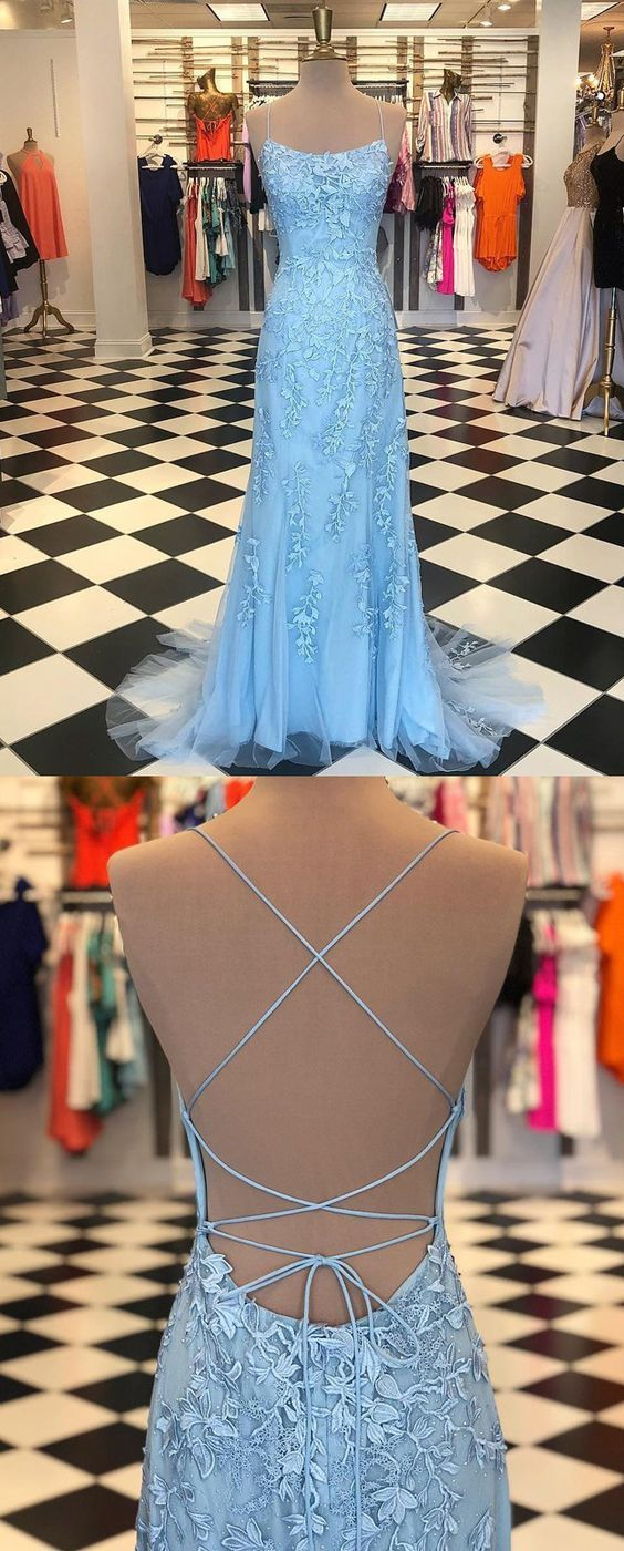 Sheath spaghetti straps laceup sweep train light blue prom dress