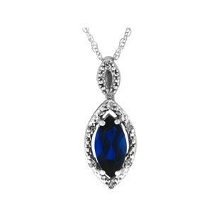 White Gold Marquise Sapphire September Gemstone Diamond Pendant. The pendant contains a created 10 X 5MM marquise cut sapphire gemstone, accented by 8 white round diamonds. Sapphire is the birthstone for September. The pendant is crafted in your choice of 10K, 14K or 18K solid white gold. Price displayed is for 10K white gold. Pendant measures .8 inches (height) X .3 inches (width).