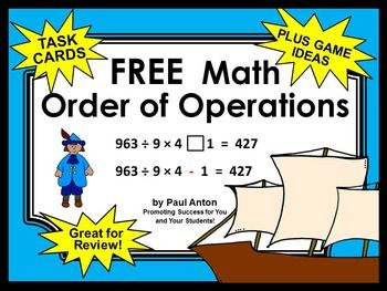 This is a graphic of Soft Order of Operations Game Printable
