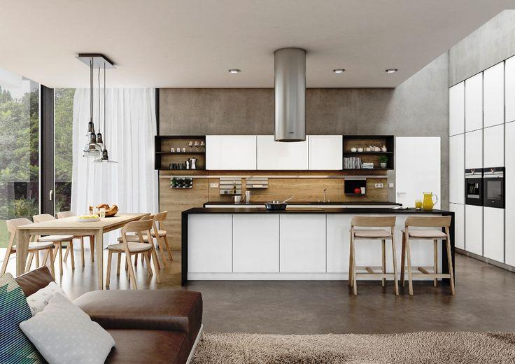 moderna kuchyna HANAK na mieru, biela v kombinacii s tmavou dyhou