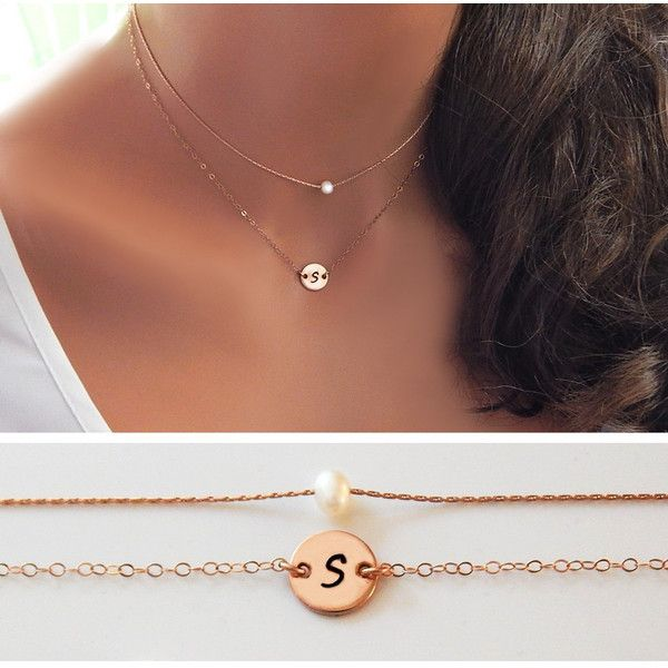 Pearl Choker, Layered Initial and Pearl Choker, Layered Rose Gold,... (€42) ❤ liked on Polyvore featuring jewelry, necklaces, rose gold initial necklace, gold choker necklace, initial necklace, gold necklace and rose gold choker