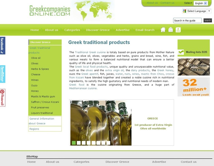 The Traditional Greek cuisine is totaly based on pure products from Mother Nature such as olive oil, olives, vegetables and herbs, grains and bread, wine, fish, and various meats to form a balanced nutritional model that can ensure a better quality of life and physical health. http://www.greekcompaniesonline.com/en/greek-traditional-products.html