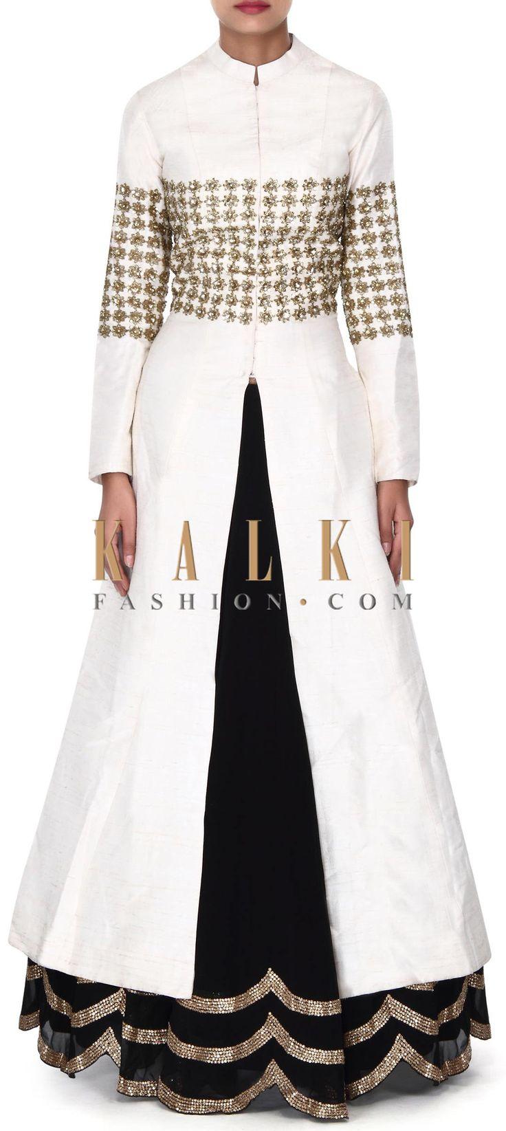 Buy this Black lehenga with off white long jacket blouse only on Kalki