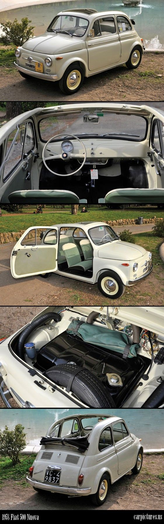 This 1958 Fiat 500 Nuova, especially the way the convertible slides back, must have been the inspiration for the 2012 fiat 500 model.