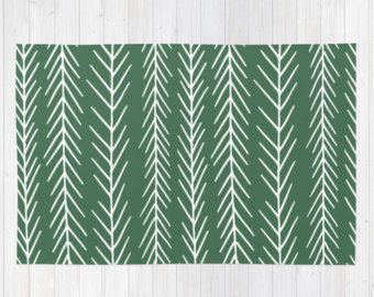 Fir Tree Branches Area Rug Green Rug Graphic Rug
