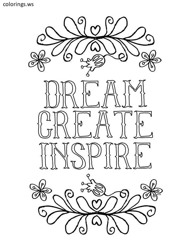 Dream Create Inspire Sayings Coloring Page Sayings Coloring Pages