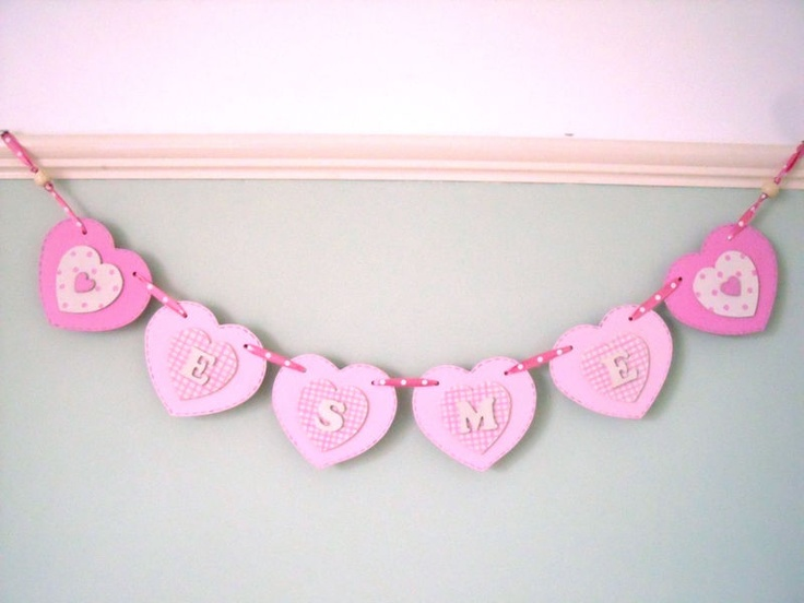 HAND PAINTED WOODEN NAME BUNTING personalised: Hearts, Butterflies