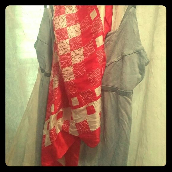 Vintage silk echo scarf Red and white checkered with square rectangle polka dots echo Accessories Scarves & Wraps