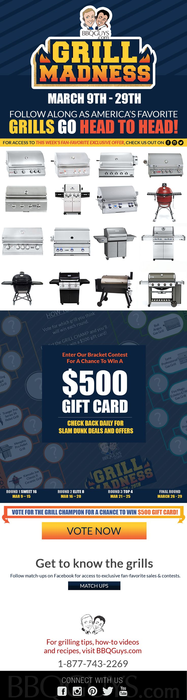 Grill Madness starts Thursday 3-19. America's favorite bbq grills & smokers are going head-to-head!  check back daily for access to exclusive fan-favorite sales and contests! #GrillMadness18 #bbq #grills #MarchMadness
