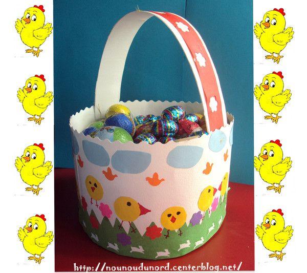 Panier de Pâques réalisé avec une assiette en carton