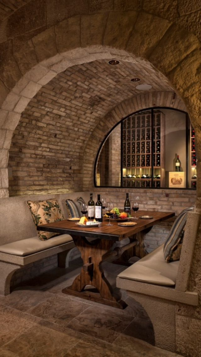How fun would it be to fine IN the wine cellar at this cozy both? You'd have to ignore the dewiness and chill of the underground