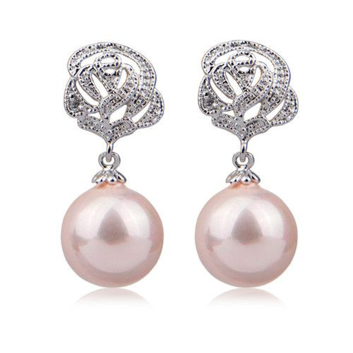 Bloom Clip-on Earrings With Pearl Dangle