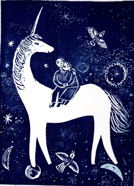"""Our Midnight Unicorn"" by Ed Boxall (linocut)"