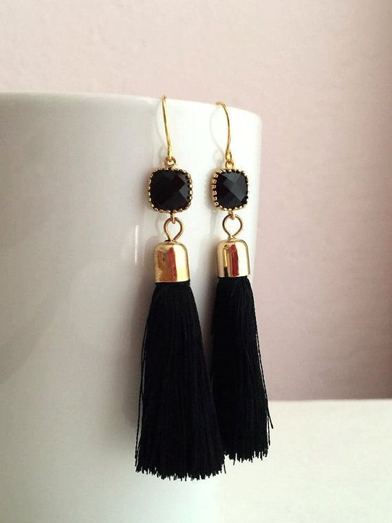 These earrings are so gorgeous! Beautiful gold framed black glass stones and black tassel pendants hung from high quality gold filled ear wires. Perfect for everyday use and special occasions. A great gift for you or someone you love. ❤ Length: Approx. 3 inches (5.7 cm) from the top of the earwire ❤ Earrings will be carefully packaged in a pretty gift box ready for giving. ❤ IMPORTANT: Please check out my shop policies before placing an order. http://www.etsy.com/shop/B...