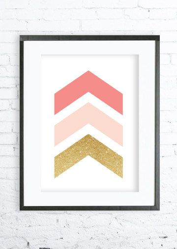 Coral Chevrons, Geometric Print Art, Chevrons Print, Chevrons Art, Modern Art Prints, Coral Home Decor,Coral Printable, Coral Wall Art