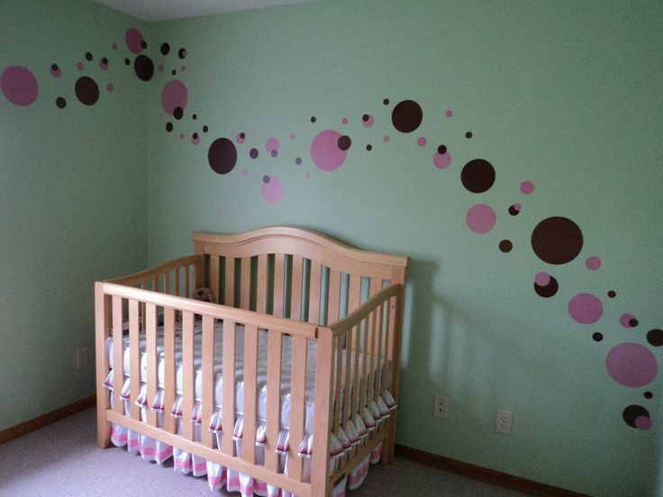 Our Polka Dot Nursery: Mint green walls with pink and brown dots