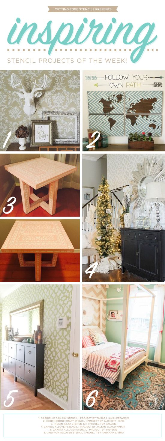 Cutting Edge Stencils shares DIY room and furniture projects using stencils.   http://www.cuttingedgestencils.com/wall-stencils-stencil-designs.html?utm_source=JCG&utm_medium=Pinterest%20Comment&utm_campaign=New%20Stencil%20Designs