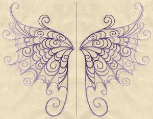 Embroidery Designs at Urban Threads - Delicate Wings.    Put on the back of my drape cardigan