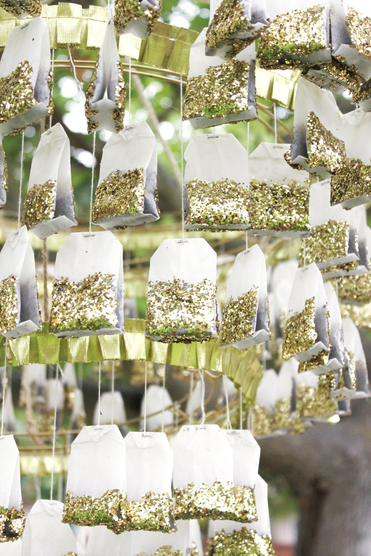 Gold tea bag chandelier