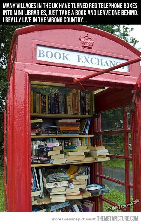 Telephone boxes turned into mini libraries…@Lauren Davison Davison Falk its official we're moving pack your bags