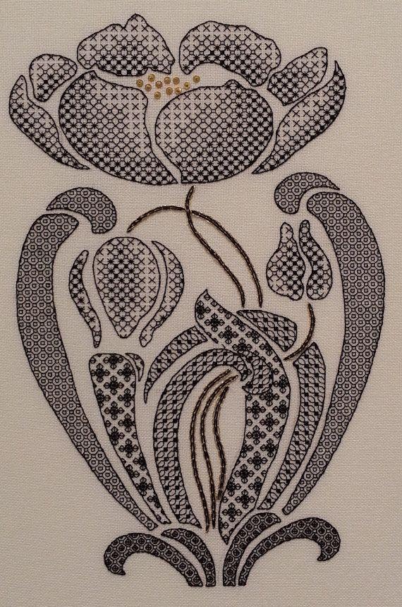 Art Nouveau Poppy Blackwork Chart : от MaggieGeeNeedlework на Etsy