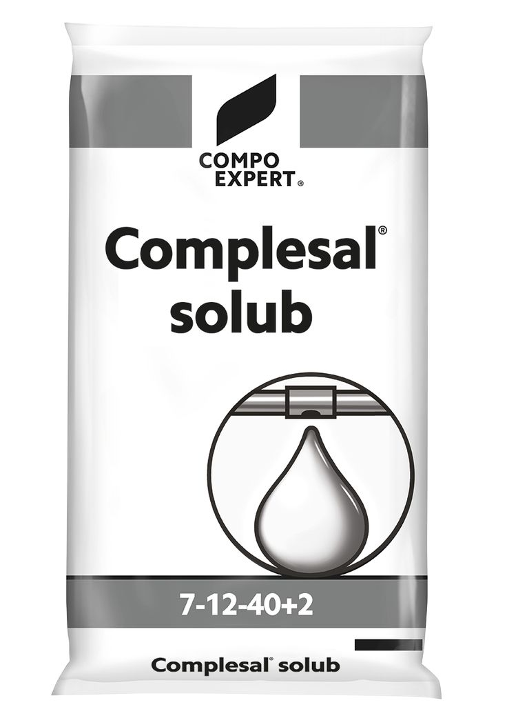 Complesal Solub 7-12-40 Σύνθεση: 7-12-40 +2MgO+IXN  Υδατοδιαλυτό ΝΡΚ με μαγνήσιο και ιχνοστοιχεία κατάλληλο για το στάδιο της καρποφορίας για την ποιοτική ωρίμανση φρούτων και λαχανικών.     Συσκευασία: σάκοι των 25 κιλών.