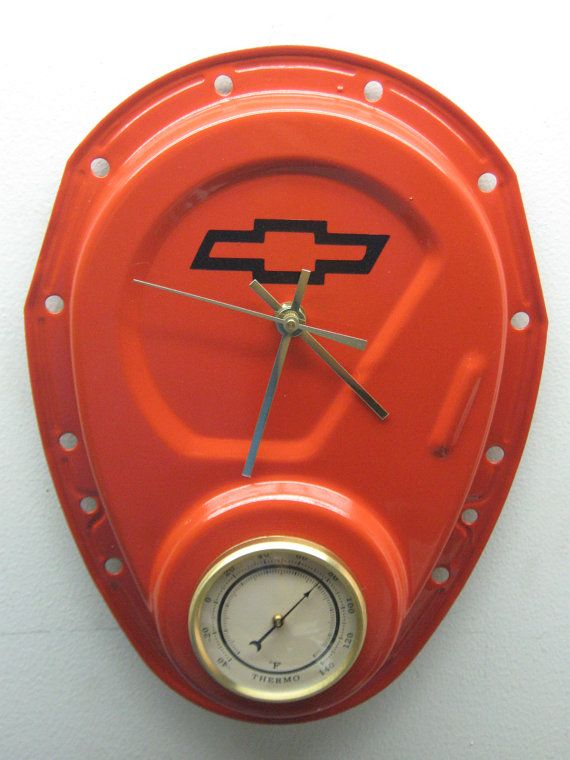 Chevy Timing Cover Clock With Thermometer ... somewhere on this board I have a Ford one pinned :)
