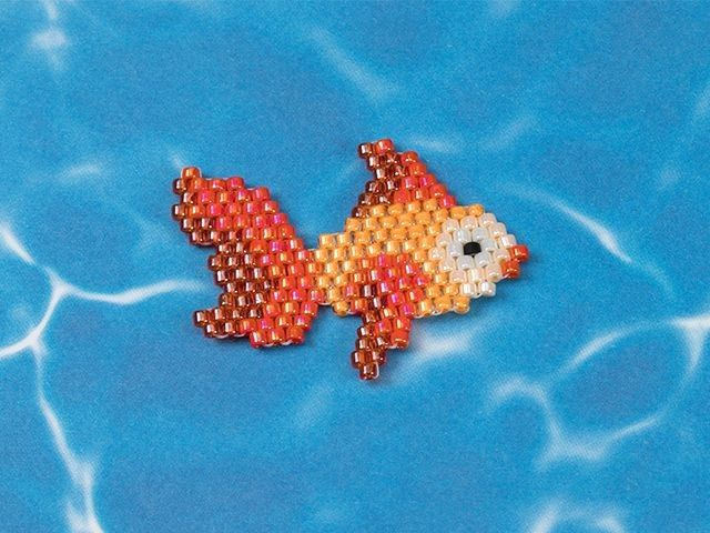 Cleo Fish Seed Bead Cutie - Brick Stitch Critter made with TOHO Treasure seed beads - Free pattern and tutorial at Artbeads.com