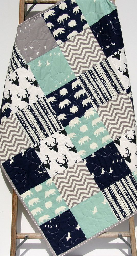 Baby Quilt Boy Navy Blue Grey Gray Elk Deer by SunnysideDesigns2