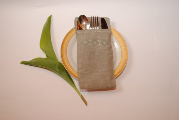 Embroidered cutlery holder Wedding linen cutlery от accessories482