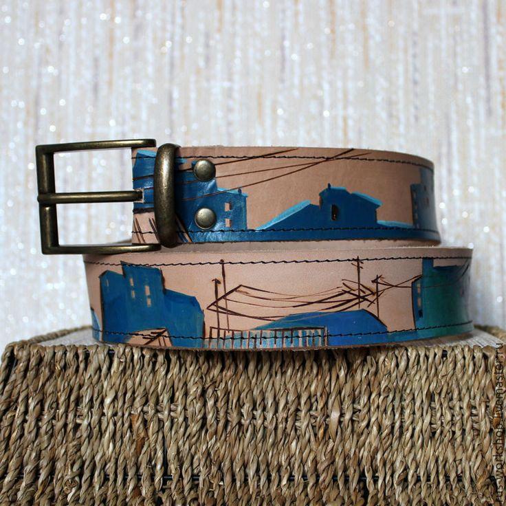 Купить Ремень «Крыши на Неве. День» - белый, ремень, ремень из кожи, ремень ручной работы