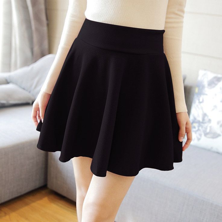BORRUICE Sexy Women Skirt Fashion Fall Winter Skirts Plus Size XL High Waist Pleated Skirt Black Skater Skirt For Women