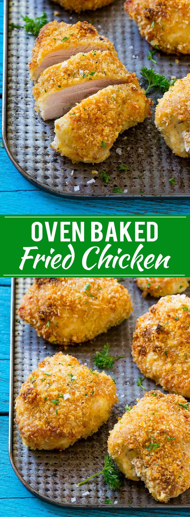 This recipe for baked fried chicken is ultra crispy chicken that's been baked in the oven for a lighter take on the classic. This oven fried chicken will quickly become a family favorite! NewComfortFood AD