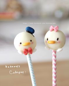Donald and Daisy Duck cake pops
