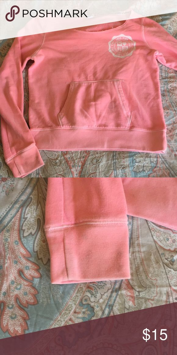 Pink VS sweater It's gently worn but has two perfume stains that won't go away and right sleeve seems to be worn out. PINK Victoria's Secret Sweaters