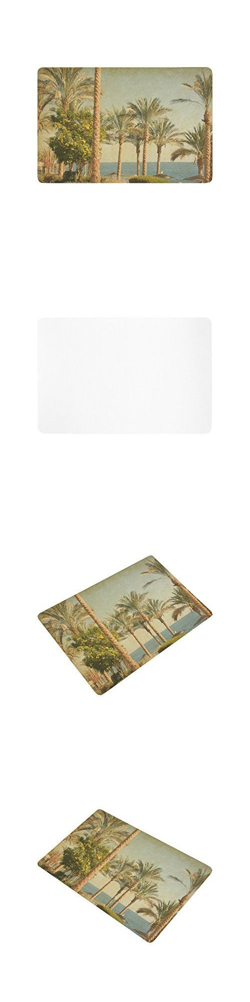 InterestPrint Nature Anti-slip Door Mat Home Decor, Vintage Retro Beach with Palm Trees amid the Blue Sea and Sky Indoor Outdoor Entrance Doormat Rubber Backing 23.6 X 15.7 Inches
